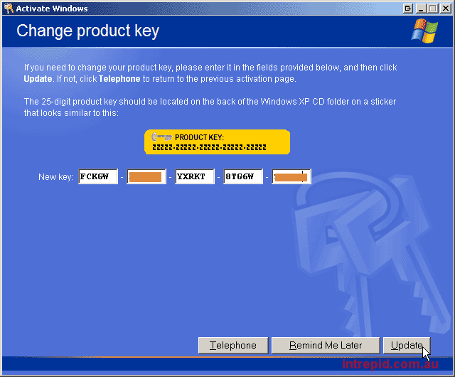 Windows XP Key degistirmek